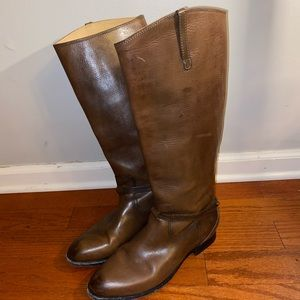 Frye brown tall leather boots logo Sz 9.5
